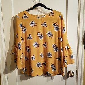 Yellow blouse with white/grey floral print